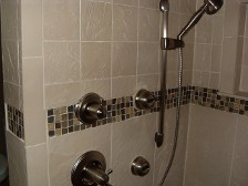 Porcelain Walk In Shower with Glass Mosaic Trim